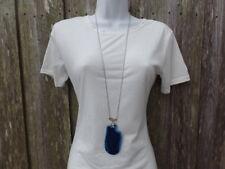 Blue Long Sliced Agate Pendant Necklace