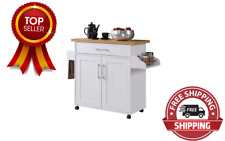 New listing Kitchen Island with Spice Rack, Towel Rack & Drawer, White with Beech Top