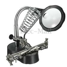3X Helping Hand Soldering Stand With LED Light Magnifier Magnifying Glass