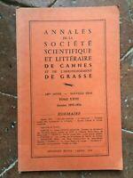 Annali Della Societè Scientifica E Letterario Di Cannes Grassa T. Xxvii 1975