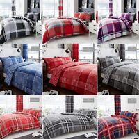 Check Block Strip  Duvet Cover With Pillowcase Reversible Quilt Soft Bedding Set