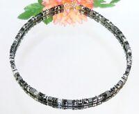 Würfelkette Halskette Würfel Glas schwarz silber marmoriert Hämatit schwarz 061f