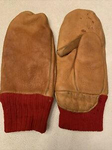 Vintage Leather Fishing Mittens Red Wool Lined 40 Years Old Maybe