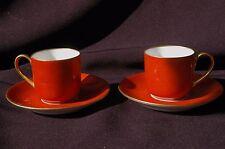 """Paire 2 Tasses Café / Moka - Porcelaine Limoges """"Au Vase Etrusque"""" (L. Damon)"""