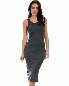 Lyss Loo Hourglass Bodycon Midi Dress D1201 Charcoal - M