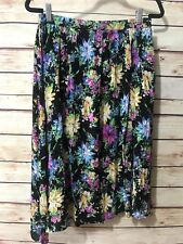 LUSH Women's Size L Multicolor Floral Bright Colors Skirt Two Front Slits Rayon