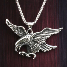 "24"" Mens Stainless Steel Box Link Chain 3D Flying Eagle Pendant Necklace #N160"