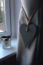 Handmade Long Wooden Heart Grey Shabby Chic Curtain Tie Backs With Jute Rope Tie