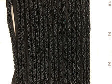 BEADED TRIM - BLACK COTTON TAPE  WITH BLACK SEED BEADS BY THE YARD