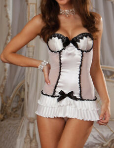 Black Bows with Sheer White Fabric & Satin Frilly Babydoll Teddy & Thong 10-12
