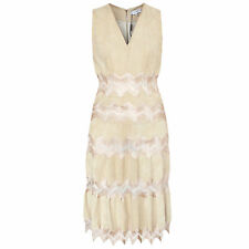 JITROIS $4,500 tan stretch suede leather sheer cut-out chevron dress 44-FR NEW