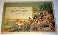 Antique Victorian Reward of Merit Card, H. Clark! Poseidon Trident, Shell, Ship!