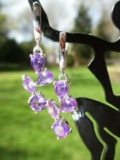 Silver Pendant Earrings Purple Amethysts 350 - private estate 925 Sterling