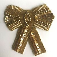 Lot of 2 Large Bow Beaded Sequined Sew-On Sewing Applique Craft Patch Vintage