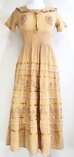 Ladies Cotton Boho Peasant Crochet Tiered Embroidered Smocked Maxi Dress NWT.