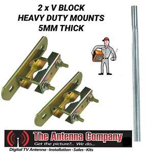 flat wall antenna bracket mount Flat Wall Mount x 5 1/6 Bolt with 2 V Blocks x2