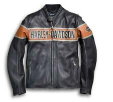 Harley Davidson Victory Lane Men's Genuine Black Cowhide Leather Jacket all size
