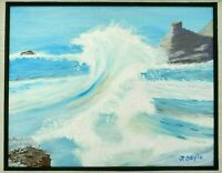 "M. JANE DOYLE SIGNED ORIGINAL ART OIL/CANV PAINTING ""THE WAVE"" (SEASCAPE) FRAMED"