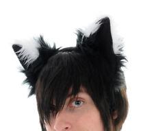 PAWSTAR Furry FOX Ears Headband Black White Puppy Dog Wolf costume [SHADOW]3060