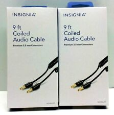 Insignia Stereo Aux 9 foot Black Coiled Cable fits 3.5mm audio jack 2 Pack