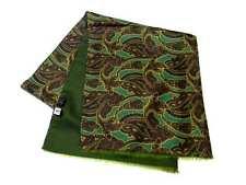 Sciarpa uomo lana e seta double verde con disegni cashmere made in italy