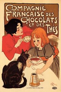 French Chocolate and Tea Drink Mother Daughter Cat Vintage Poster Repro FREE S/H
