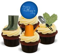 NOVELTY FATHERS DAY GARDENING MIX 12 STAND UP Edible Cake Toppers Dad Daddy