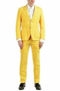 "Hugo Boss ""Hanry-D"" Men's 100% Linen Yellow Slim Two Button Suit US 38R IT 48R"