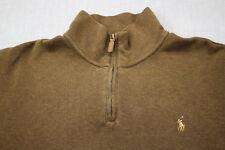 RALPH LAUREN POLO Mens Brown 1/4 Zipper Estate Rib Pullover Sweater  NWT  XL