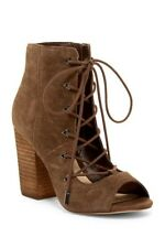 Fergie $120 Size 8 Riviera Open Toe Suede Ankle Boot Lace Up Heel Brown New