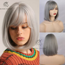 Short Silver Gray Bob Wigs with Bangs for Women Cosplay Daily Cute Straight Wigs