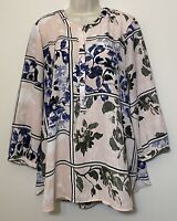 JM Collection XL Blouse Pink & Blue 3/4 Sleeve Partial Button Up Tunic Top