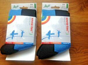 2 pairs Manbi Blue/Black Snow-tec Ski Socks Jnr SIZE 9-12  EU 27-30. Free UK P&P