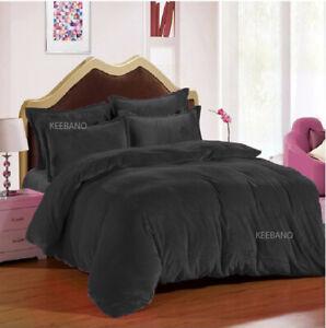 5 PC Oly Queen Plain Velvet Duvet Cover / Quilt cover/ Comforter cover Set