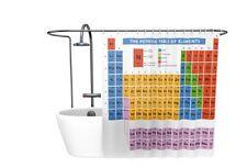 Tabla Periódica Elementos Química Cortina De Baño Ducha Con Ganchos Anillos Novedad