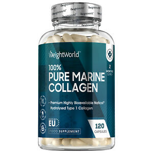 Pure Marine Collagen 120 Capsules for Anti Ageing, Hair, Muscle, Nails & Joints