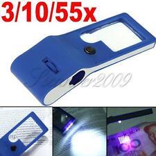 3X 10X 55X Mini Eye Glass Jewelers Loupe Magnifier Microscope LED & UV Lights