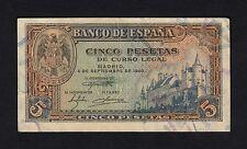 F.C. 5 PESETAS 1940 , SERIE G , EBC+ .