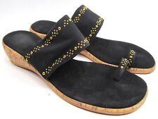 Womens Size 9 40 Toe Loop Onex Dress Slide Sandals Black Gold  Wedge