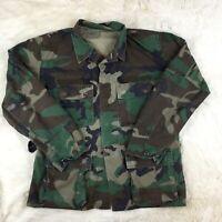 US Military Army Camo Cotton Jacket Shirt Green Long Sleeve Medium Authentic M