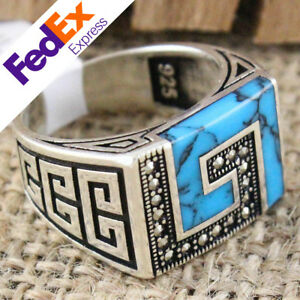 Meander Key 925 Sterling SILVER Turquoise Stone Turkish Luxury Men Ring All Size