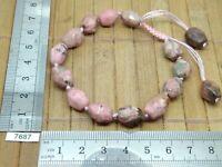 Bracelet reglable en RHODONITE pierre naturelle facettes - lithotherapie reiki
