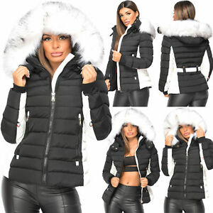 Ladies Women's Quilted Puffer Bubble Padded Jacket Fur Collar Winter Hooded Coat