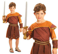 Childrens Roman Soldier Fancy Dress Costume Gladiator Childs Boys Outfit L