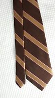 Brooks Brothers Brown Gold NECK TIE Stain Resistant Italy Silk, Classic