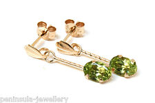 9ct Gold Peridot Oval Drop Earrings Gift Boxed Made in UK