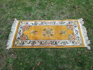 Alter Handgeknüpfter China Aubusson Orientteppich Teppich Carpet 145 cm x 70 cm