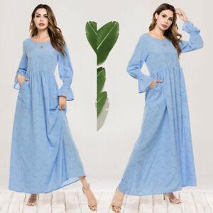 Muslim Women Kaftan Abaya Flare Sleeve Maxi Dress Robe Long Jilbab Islamic Arab