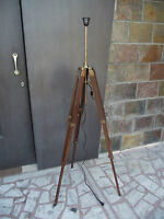 Wooden Lamp Stand Shade Floor Tripod Adjustable Home Decorative Antique Stand