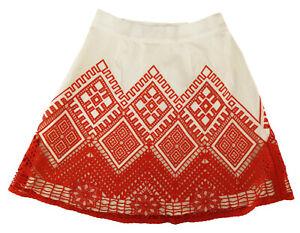 Temperley Amalfi Skirt White & Red A Line Midi Size Small UK 8, EU 36 RRP £495